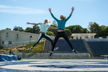 High jumpers Erika Kinsey and Nicola McDermot ahead of the Prefontaine Classic in Stanford (Michelle Sammet)