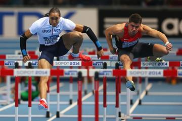 Pascal Martinot-Lagarde in the 60m hurdles at the 2014 IAAF World Indoor Championships (Getty Images)