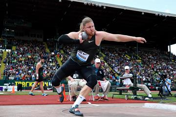 Ryan Crouser spinning to a meeting record in Eugene (Victah Sailer)