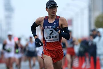 Toshikazu Yamanishi en route to the Japanese 20km race walking title in Kobe (Getty Images)