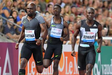 Churandy Martina winning the 200m at the 2016 IAAF Diamond League meeting in Lausanne (Gladys von der Laage)