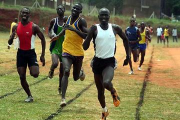 Gombe S.S student Chesira Yuda, 16, on his way to winning the men's 1500m (Daniel Senfuma)