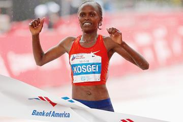Brigid Kosgei winning the Chicago Marathon (AFP/Getty Images)