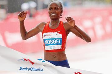 Brigid Kosgei winning the Chicago Marathon (AFP/Getty Images)