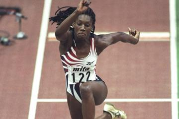 Ashia Hansen in action in the triple jump (Getty Images)