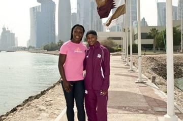 VCB with Qatar's London Olympic sprinter Noor al-Malki (Alexandra Panagiotidou )