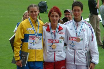 Virginie Michanol (right) at last year's European Junior Champs (FFA)