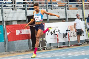 Phyllis Francis breaking the 400m meeting record in Lignano (Paolo Sant/Andrea Almacolle/Benedetta Biscaro (organisers))