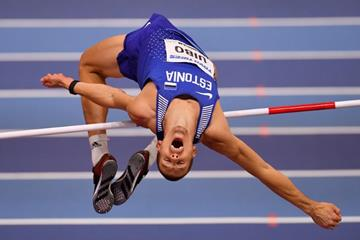 Maicel Uibo in the heptathlon high jump at the IAAF World Indoor Championships Birmingham 2018 (Getty Images)