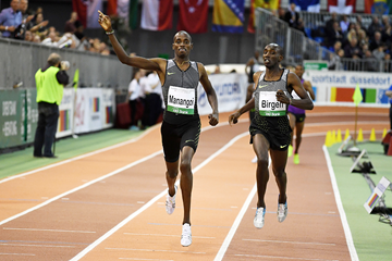 Elijah Manangoi wins the 1500m at the IAAF World Indoor Tour Meeting in Dusseldorf (Gladys Chai von der Laage)