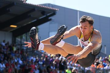 Niklas Kaul in the decathlon long jump at the European U23 Championships in Gavle (Getty Images)