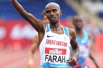 Mo Farah wins the 3000m at the IAAF Diamond League meeting in Birmingham (Jean-Pierre Durand)