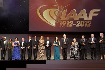 IAAF President Lamine Diack, 2012 World Athlete of the Year Usain Bolt and IAAF Hall of Fame members at the IAAF Centenary Gala in Barcelona (Giancarlo Colombo)