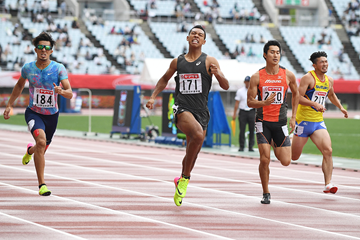 Hakim Sani Brown wins the 200m at the Japanese Championships (Getty Images)