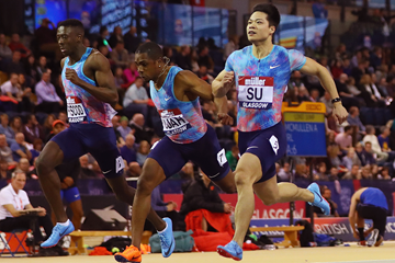Su Bingtian wins the 60m at the Muller Indoor Grand Prix Glasgow (Getty Images)