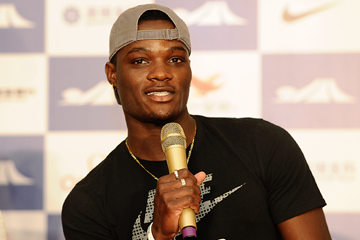 Omar McLeod at the press conference for the IAAF Diamond League meeting in Shanghai (Errol Anderson)