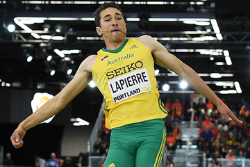 Fabrice Lapierre in the long jump at the IAAF World Indoor Championships Portland 2016 (AFP / Getty Images)