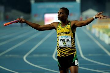 Warren Weir after Jamaicans won the men's 4x200m at the IAAF/BTC World Relays, Bahamas 2015 (Getty Images)