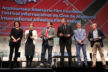 Amaya Andres, Maite Zuniga, Javier Garcia Chico, Antonio Penalver, Daniel Plaza and Fermin Cacho at the International Athletics Film Festival in San Sebastian (FICA)