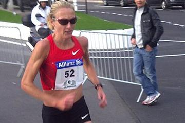 Monaco resident Paula Radcliffe (GBR) just back from a training trip in Kenya, takes part in 17th Cursa Natale (10km) on a hilly course in Monaco on 11 December 2011. Finished in 32:05  (Nick Davies (IAAF))