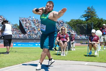 Darlan Romani, winner of the shot put at the IAAF Diamond League meeting in Stanford (Victah Sailer)