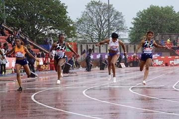 Dina Asher-Smith wins the 100m at the Wanda Diamond League meeting in Gateshead (Matt Quine)