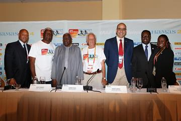 LOC managing director Lionel Haven, LOC vice deputy chairman Mike Sands, IAAF president Lamine Diack, LOC chairman Keith Parker, IAAF general secretary Essar Gabriel, Bahaman minister of sport Daniel Johnson and IAAF council member Pauline Davis-Thompson at the press conference ahead of the 2014 IAAF World Relays in Nassau (Getty Images)