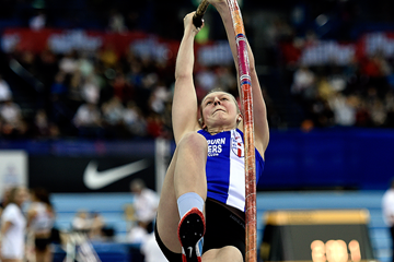 Holly Bradshaw wins the pole vault at the IAAF World Indoor Tour meeting in Birmingham (Mark Shearman)
