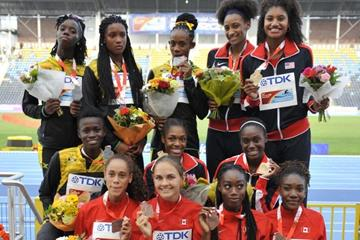 The women's 4x400m medallists at the IAAF World U20 Championships Bydgoszcz 2016 (Getty Images)