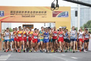 The start of the men's 20km race walk at the IAAF World Race Walking Team Championships Taicang 2018 (Getty Images)