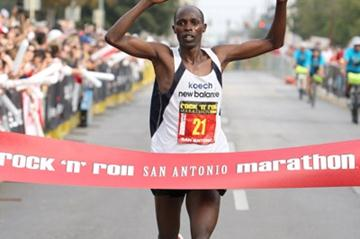 Gilbert Koech winning the Rock n Roll San Antonio Marathon (Victah Sailer)
