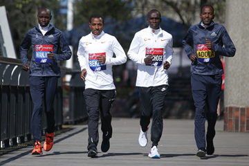 Daniel Wanjiru, Kenenisa Bekele, Eliud Kipchoge and Guye Adola ahead of the London Marathon (AFP / Getty Images)