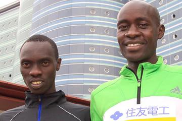 Vincent Kipruto and Peter Kirui in Otsu ahead of the Lake Biwa Marathon (Victah Sailor)