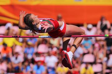 Karyna Taranda in the high jump at the IAAF World U20 Championships Tampere 2018 (Roger Sedres)
