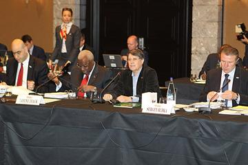 Opening of IAAF Council Meeting in Barcelona, Council Member José Maria Odriozola, the President of RFEA the host IAAF national Member Federation, makes the opening greeting to President Diack and his fellow Council members (IAAF)