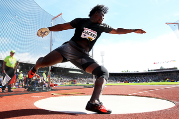 Fedrick Dacres, winner of the discus at the IAAF Diamond League meeting in Stockholm (Giancarlo Colombo)
