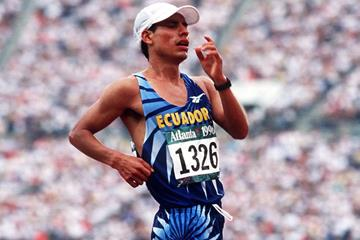 Jefferson Perez wins the 20km race walk at the 1996 Olympic Games in Atlanta (Getty Images)