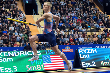 USA's Sam Kendricks in action in the pole vault (AFP / Getty Images)