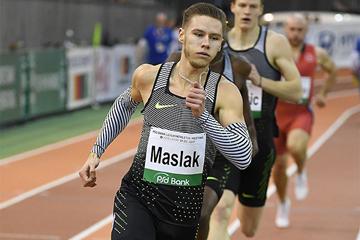Pavel Maslak on his way to winning the 400m at the IAAF World Indoor Tour Meeting in Dusseldorf (Gladys Chai von der Laage)