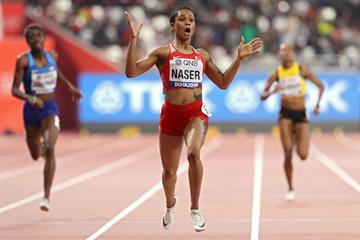 Salwa Eid Naser sets a championship record of 48.14 to win the 400m at the IAAF World Athletics Championships Doha 2019 (Getty Images)
