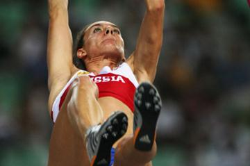 Yelena Isinbayeva of Russia in action in the Pole Vault qualifications (Getty Images)