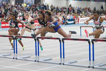 Nia Ali wins the 60m hurdles at the World Athletics Indoor Tour meeting in Boston (Victah Sailer)