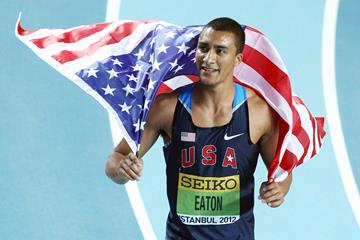 Ashton Eaton celebrates his victory at the 2012 IAAF World Indoor Championships (Getty Images)