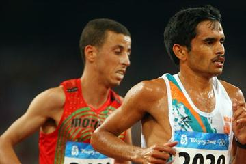 Mohamed El Hachimi (l) of Morocco and Surrendra Singh of India in Beijing (Getty Images)