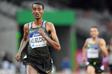 Yomif Kejelcha winning the 3000m at the 2016 Diamond League meeting in Paris (Jiro Mochizuki)