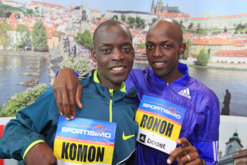 Leonard Komon and Geoffrey Ronoh ahead of the 2015 Sportisimo Prague Half Marathon (Victah Sailer / organisers)