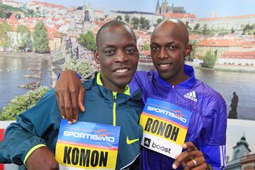 Leonard Komon and Geoffrey Ronoh ahead of the 2015 Sportisimo Prague Half Marathon (Victah Sailer / organisers)