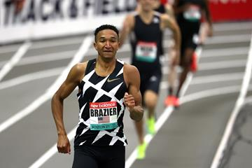 Donavan Brazier on his way to winning the 800m at the New Balance Indoor Grand Prix (Getty Images)