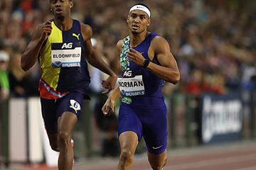 Michael Norman en route to a 400m victory in Brussels (Giancarlo Colombo)