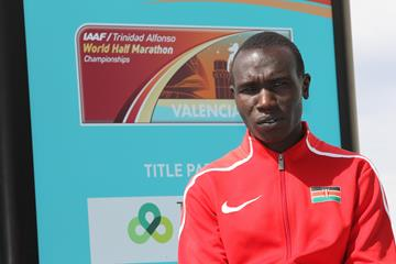 Geoffrey Kamworor at the pre-champs press conference in Valencia (Jean-Pierre Durand)